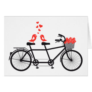 tandem bicycle with cute love birds card