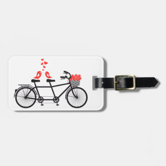 tandem bicycle with cute love birds luggage tag