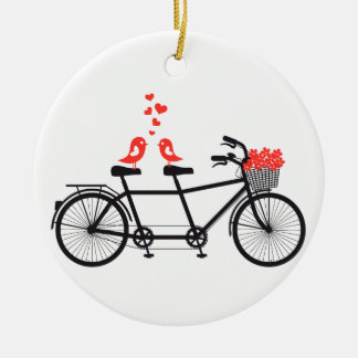 tandem bicycle with cute love birds round ceramic decoration