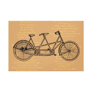 """Tandem Bicycle With Lyrics To """"Daisy Bell"""" Canvas Print"""