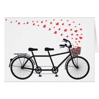 tandem bicycle with red hearts greeting card