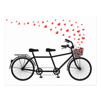 tandem bicycle with red hearts postcard
