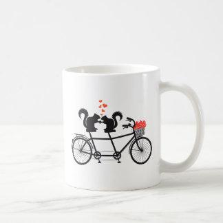 tandem bicycle with squirrels coffee mug