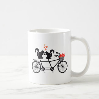 tandem bicycle with squirrels coffee mugs