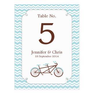 Tandem Bike (Blue Chevron) Table Number Post Cards