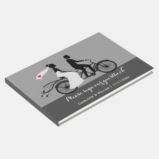 Tandem Bike Bride And Groom Personalized Wedding Guest Book