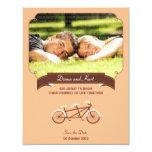 Tandem Bike (Coral) Save the Date Photo 11 Cm X 14 Cm Invitation Card