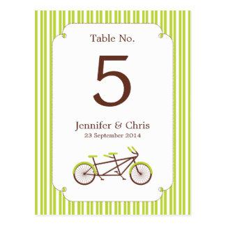 Tandem Bike (Green Stripes) Table Number Post Cards