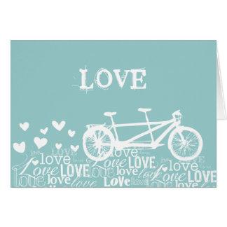 Tandem Bike Love White and Aqua Card