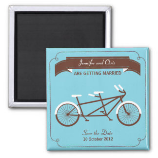 Tandem Bike (Sky Blue / Brown) Save the Date Fridge Magnets