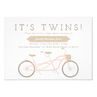 Tandem Bike | Twins Baby Shower Card
