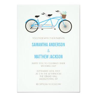 Tandem Bike Wedding Invitation - Blue