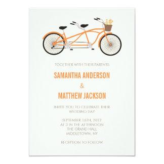 Tandem Bike Wedding Invitation - Orange
