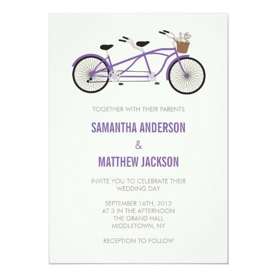 Tandem Bike Wedding Invitation - Purple