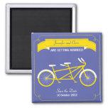 Tandem Bike (Yellow / Blue) Save the Date Fridge Magnet
