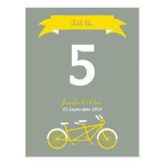 Tandem Bike (Yellow / Grey) Table Number Post Card