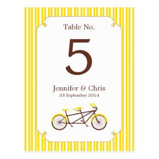Tandem Bike (Yellow Stripes) Table Number Postcard