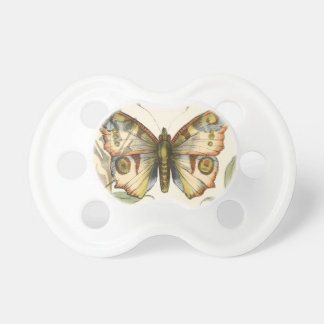 Tandem Butterflies Over Green Leaves Baby Pacifier