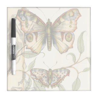 Tandem Butterflies Over Green Leaves Dry Erase Board