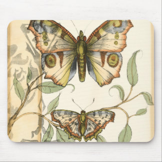 Tandem Butterflies Over Green Leaves Mouse Mat