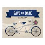 Tandem Dark Blue Bicycle Wedding Save the Date