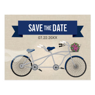 Tandem Dark Blue Bicycle Wedding Save the Date Postcard