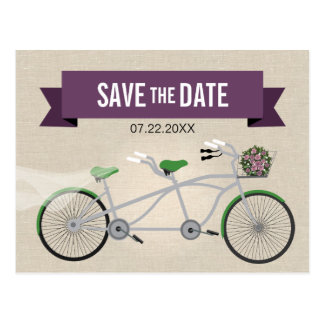 Tandem Green Bicycle Wedding Save the Date 2 Postcard