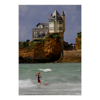 Tandem Surfing at Biarritz, France Poster