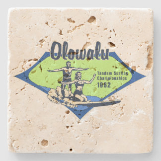 Tandem Surfing Hawaiian Vintage Surf Design Stone Coaster