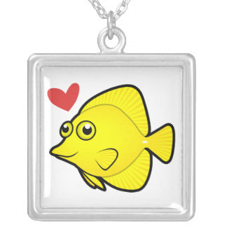 Tang / Surgeonfish Love 1 Silver Plated Necklace