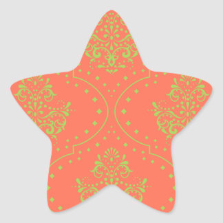 tangerine and lime green henna style damask star sticker