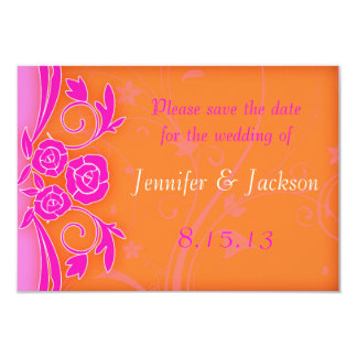 Tangerine and Pink Roses Wedding Save the Date 9 Cm X 13 Cm Invitation Card