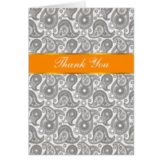 Tangerine Black Paisley Greeting Card