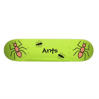 Tangerine & Black Vector Ants (Green Background) Custom Skateboard