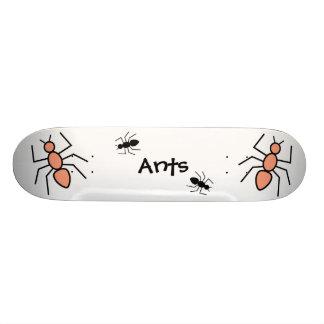 Tangerine & Black Vector Ants Skate Board Deck