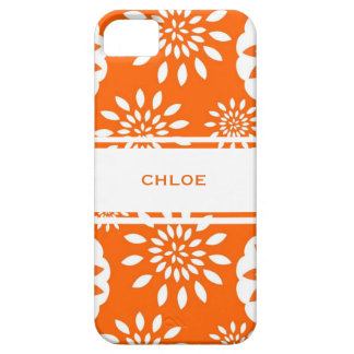 Tangerine Blossom Personalized Floral Splash iPhone 5 Covers