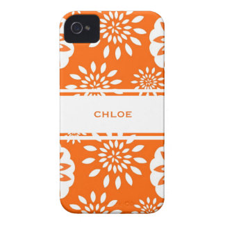 Tangerine Blossom Personalized Floral Splash iPhone 4 Cover