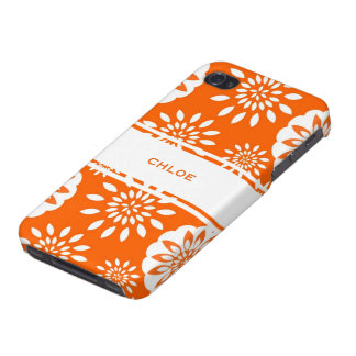 Tangerine Blossom Personalized Floral Splash iPhone 4 Cases