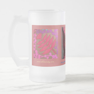 Tangerine Coral Plum Turquoise Frosted Glass Mug