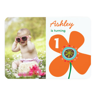 Tangerine Daisy Pop Girl Photo 1st Birthday Invite