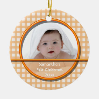 Tangerine Gingham Baby's First Christmas Ornament