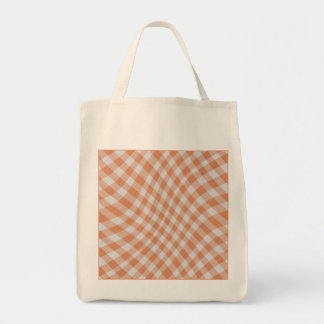 Tangerine Gingham Check Geometric Pattern wave Grocery Tote Bag