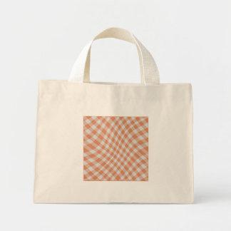Tangerine Gingham Check Geometric Pattern wave Mini Tote Bag