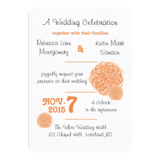 Tangerine Hydrangea Wedding Invitation