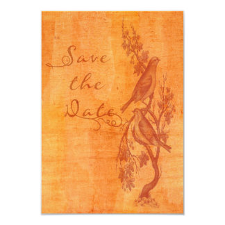 """Tangerine Lovebirds Etching Save the Date 3.5"""" X 5"""" Invitation Card"""
