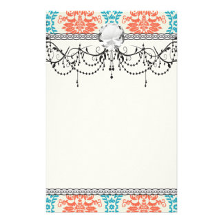 tangerine orange and aqua blue ornate damask stationery