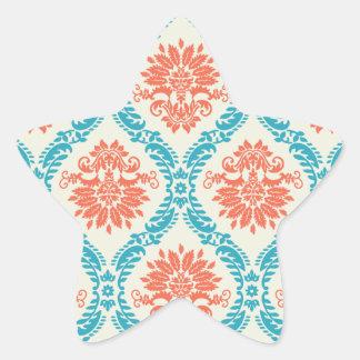 tangerine orange and aqua blue ornate damask star sticker
