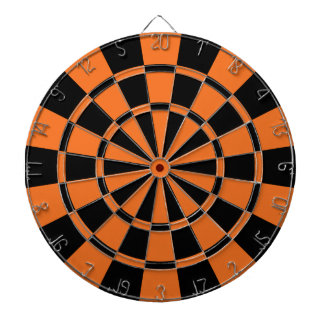 Tangerine Orange And Black Dartboard