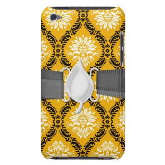 tangerine orange black white ornate damask barely there iPod cover