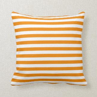 Tangerine Orange Classic Stripe Pillow